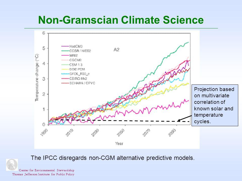 Center for Environmental Stewardship Thomas Jefferson Institute for Public Policy Non-Gramscian Climate Science The IPCC disregards non-CGM alternative predictive models.