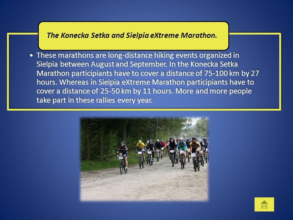 These marathons are long-distance hiking events organized in Sielpia between August and September. In the Konecka Setka Marathon participiants have to