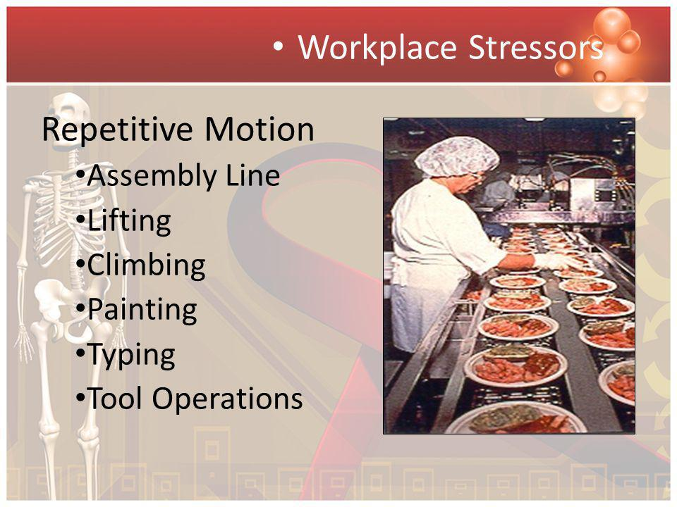 Workplace Stressors Repetitive Motion Assembly Line Lifting Climbing Painting Typing Tool Operations