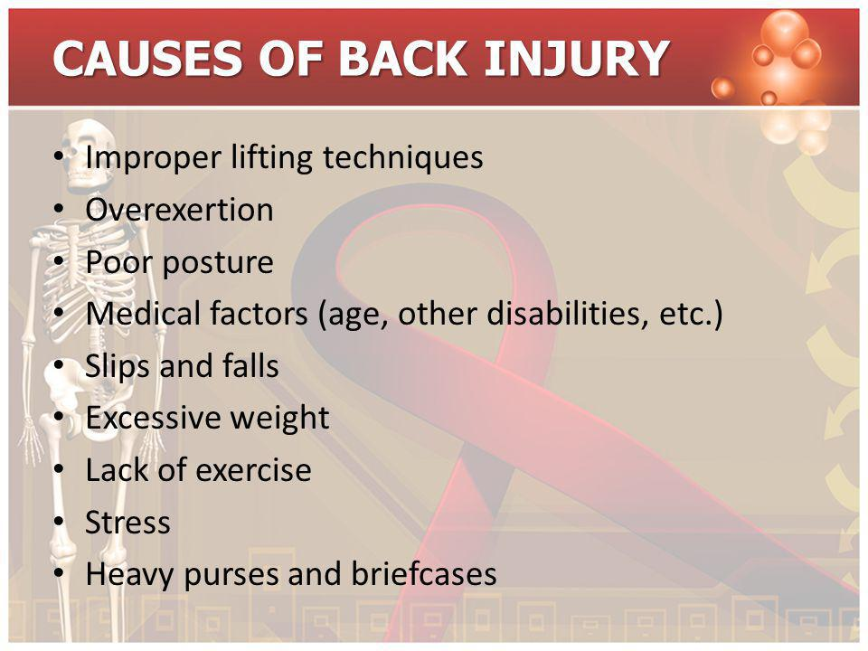 CAUSES OF BACK INJURY Improper lifting techniques Overexertion Poor posture Medical factors (age, other disabilities, etc.) Slips and falls Excessive