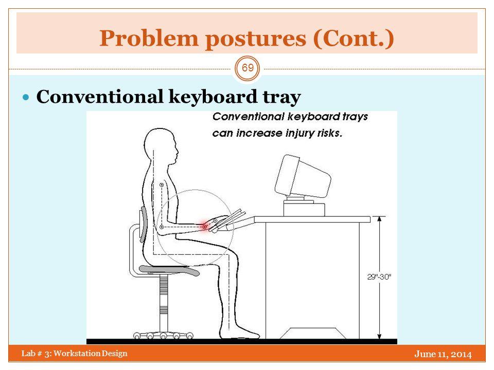 Ideal Typing Position June 11, 2014 Lab # 3: Workstation Design 70 Negative slope keyboard support