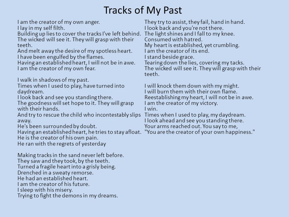 Tracks of My Past I am the creator of my own anger.