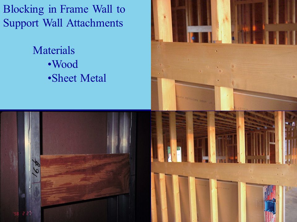 Blocking in Frame Wall to Support Wall Attachments Materials Wood Sheet Metal