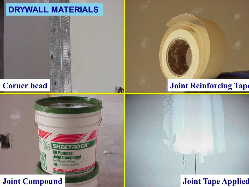 Corner bead Joint Compound Joint Reinforcing Tape Joint Tape Applied DRYWALL MATERIALS