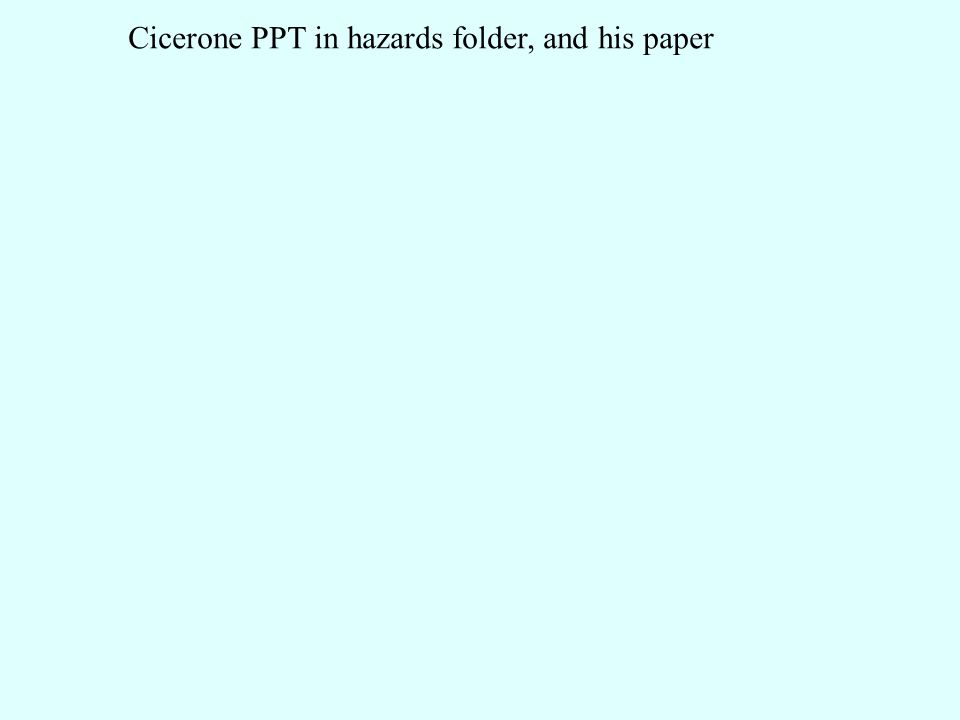 Cicerone PPT in hazards folder, and his paper