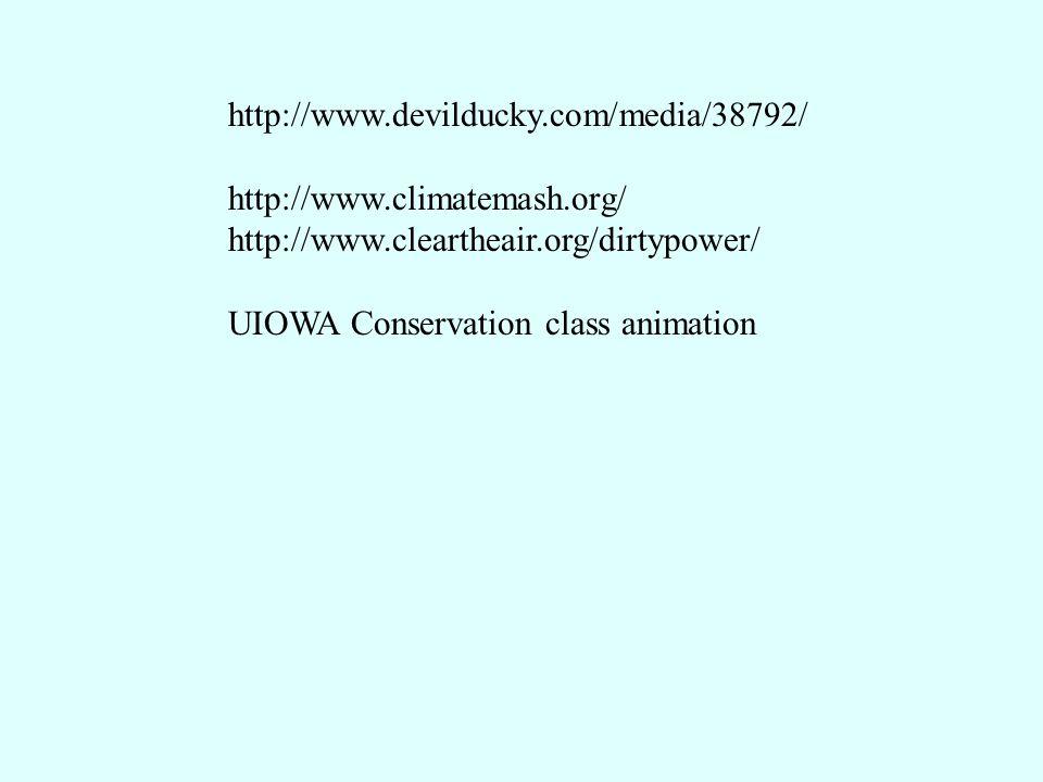 http://www.devilducky.com/media/38792/ http://www.climatemash.org/ http://www.cleartheair.org/dirtypower/ UIOWA Conservation class animation