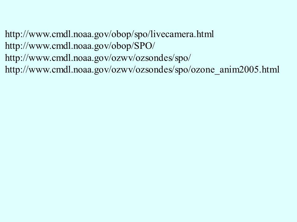 http://www.cmdl.noaa.gov/obop/spo/livecamera.html http://www.cmdl.noaa.gov/obop/SPO/ http://www.cmdl.noaa.gov/ozwv/ozsondes/spo/ http://www.cmdl.noaa.gov/ozwv/ozsondes/spo/ozone_anim2005.html