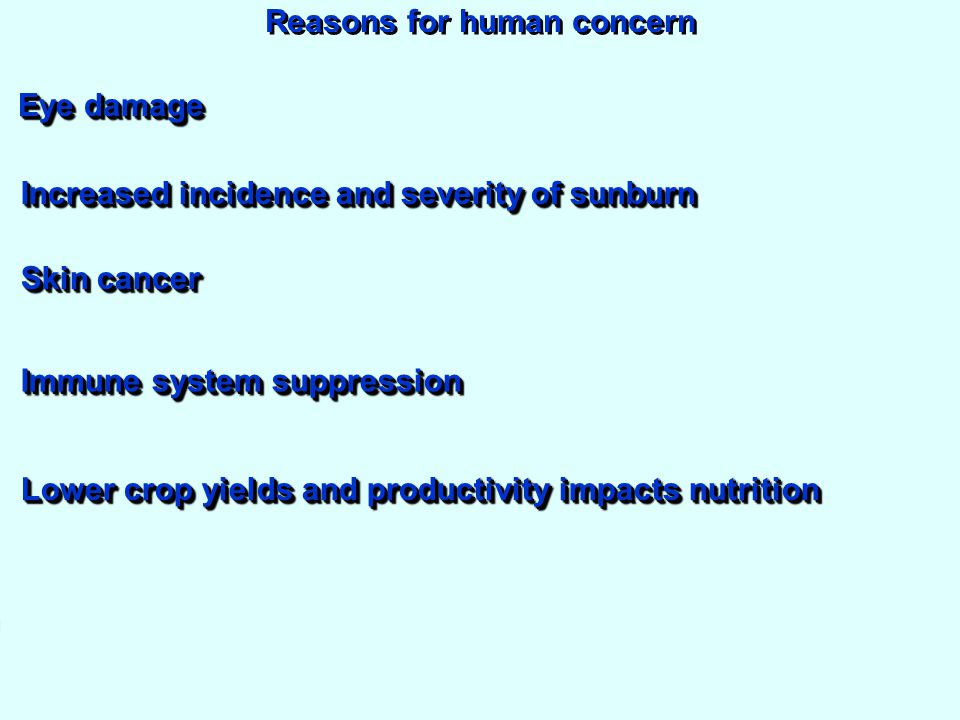 Reasons for human concern Increased incidence and severity of sunburn Eye damage Skin cancer Immune system suppression Increase in acid deposition Lower crop yields and productivity impacts nutrition
