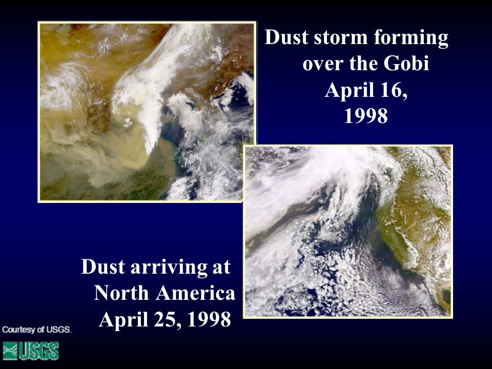 Dust arriving at North America April 25, 1998 Dust storm forming over the Gobi April 16, 1998