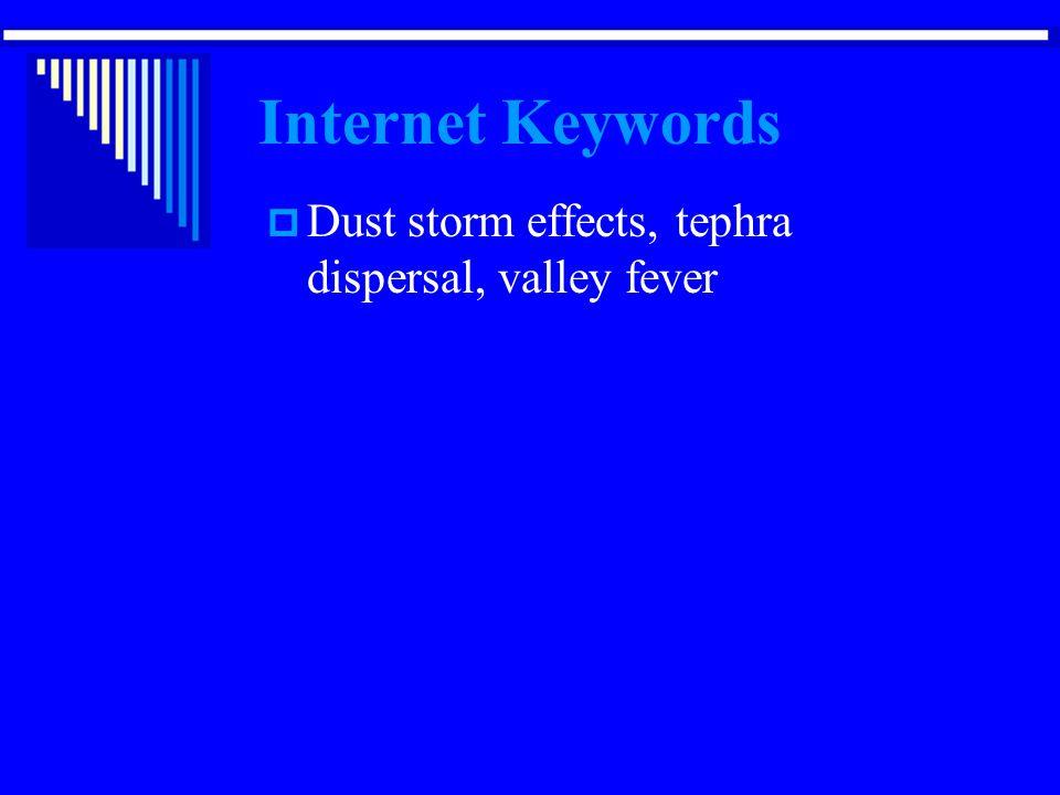 Internet Keywords Dust storm effects, tephra dispersal, valley fever