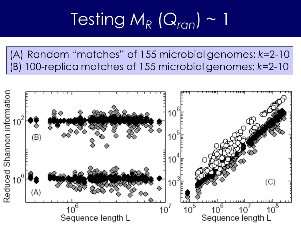 Testing M R (Q ran ) ~ 1 (A) Random matches of 155 microbial genomes; k=2-10 (B)100-replica matches of 155 microbial genomes; k=2-10