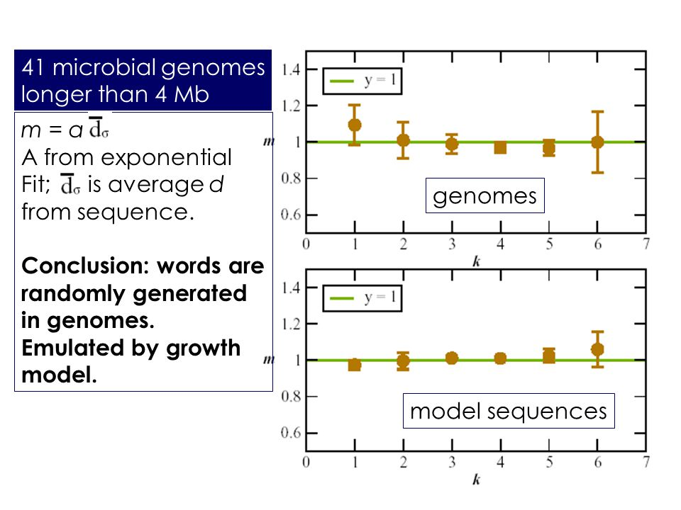 m = a A from exponential Fit; is average d from sequence. Conclusion: words are randomly generated in genomes. Emulated by growth model. 41 microbial