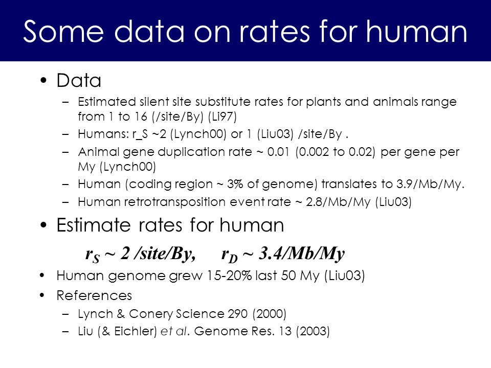 Data –Estimated silent site substitute rates for plants and animals range from 1 to 16 (/site/By) (Li97) –Humans: r_S ~2 (Lynch00) or 1 (Liu03) /site/