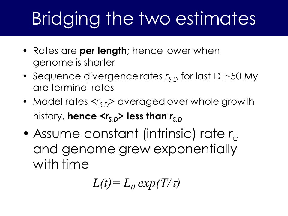 Rates are per length ; hence lower when genome is shorter Sequence divergence rates r S,D for last DT~50 My are terminal rates Model rates averaged over whole growth history, hence less than r S,D Assume constant (intrinsic) rate r c and genome grew exponentially with time L(t)= L 0 exp(T/ ) Bridging the two estimates