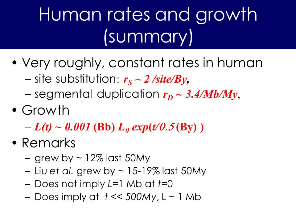Very roughly, constant rates in human –site substitution : r S ~ 2 /site/By, –segmental duplication r D ~ 3.4/Mb/My, Growth –L(t) ~ 0.001 (Bb) L 0 exp(t/ (By) ) Remarks –grew by ~ 12% last 50My –Liu et al.