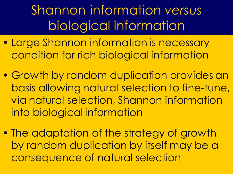Large Shannon information is necessary condition for rich biological information Growth by random duplication provides an basis allowing natural selection to fine-tune, via natural selection, Shannon information into biological information The adaptation of the strategy of growth by random duplication by itself may be a consequence of natural selection Shannon information versus biological information