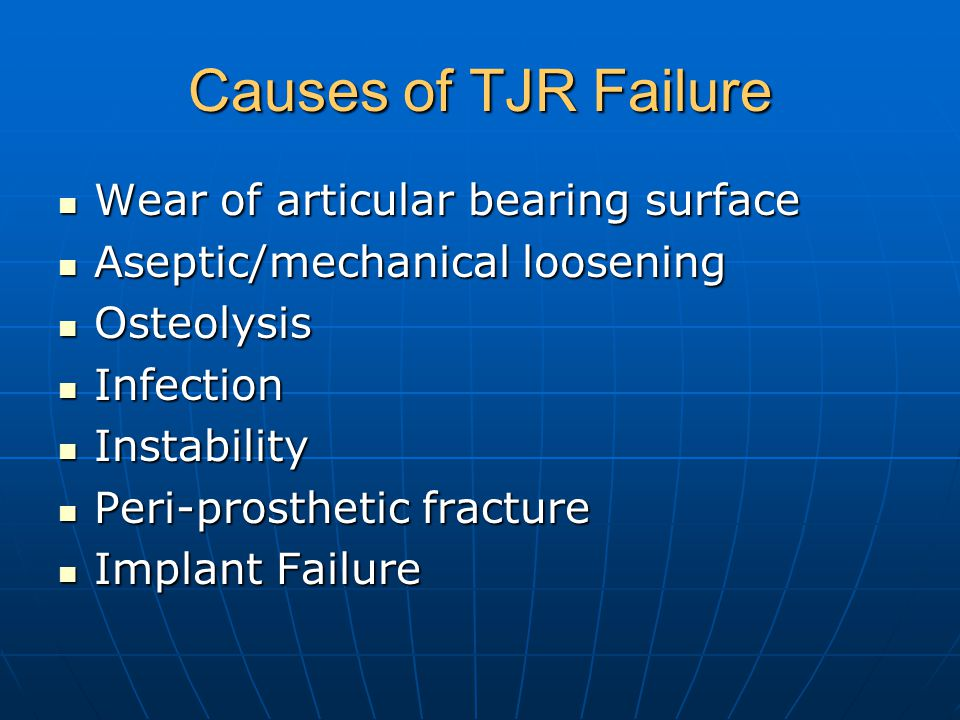 Causes of TJR Failure Wear of articular bearing surface Wear of articular bearing surface Aseptic/mechanical loosening Aseptic/mechanical loosening Os