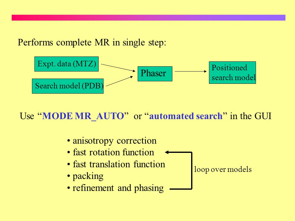 Performs complete MR in single step: Expt. data (MTZ) Search model (PDB) Phaser Positioned search model Use MODE MR_AUTO or automated search in the GU