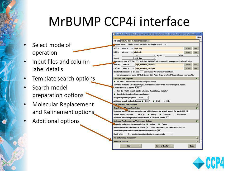 MrBUMP CCP4i interface Select mode of operation Input files and column label details Template search options Search model preparation options Molecular Replacement and Refinement options Additional options