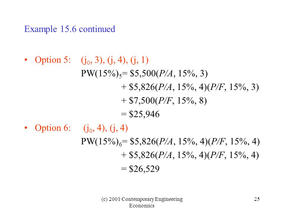 (c) 2001 Contemporary Engineering Economics 25 Example 15.6 continued Option 5:(j 0, 3), (j, 4), (j, 1) PW(15%) 5 = $5,500(P/A, 15%, 3) + $5,826(P/A, 15%, 4)(P/F, 15%, 3) + $7,500(P/F, 15%, 8) = $25,946 Option 6: (j 0, 4), (j, 4) PW(15%) 6 = $5,826(P/A, 15%, 4)(P/F, 15%, 4) + $5,826(P/A, 15%, 4)(P/F, 15%, 4) = $26,529