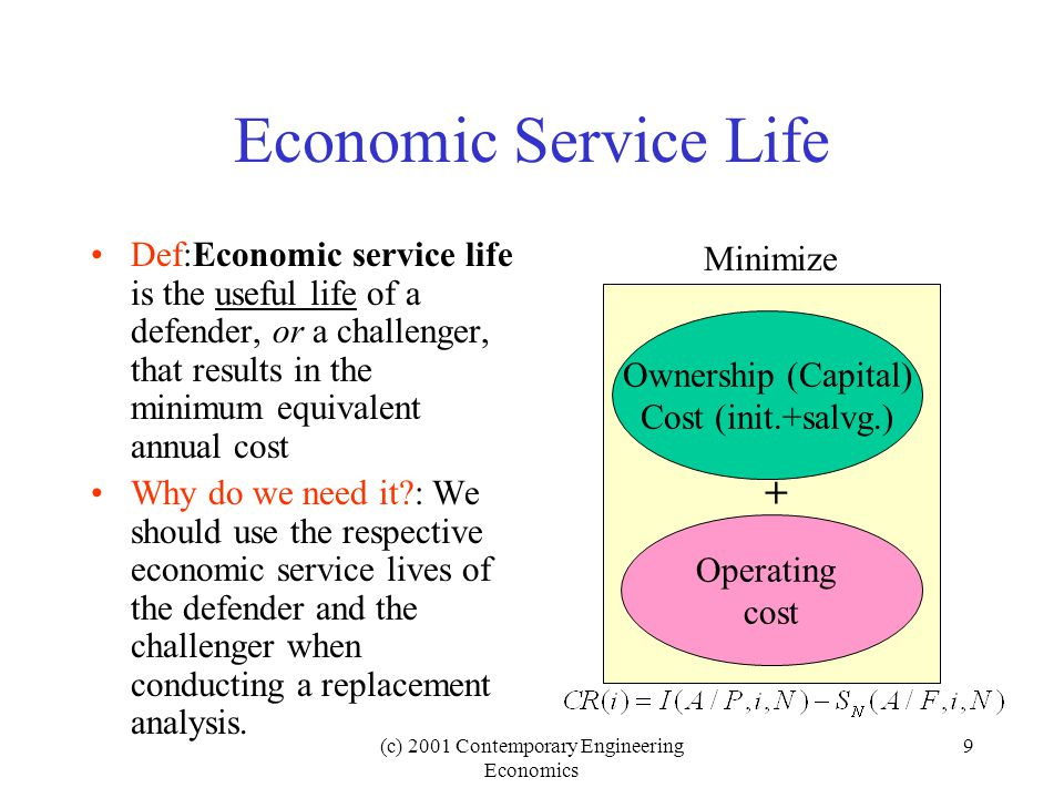 (c) 2001 Contemporary Engineering Economics 9 Economic Service Life Def:Economic service life is the useful life of a defender, or a challenger, that results in the minimum equivalent annual cost Why do we need it : We should use the respective economic service lives of the defender and the challenger when conducting a replacement analysis.