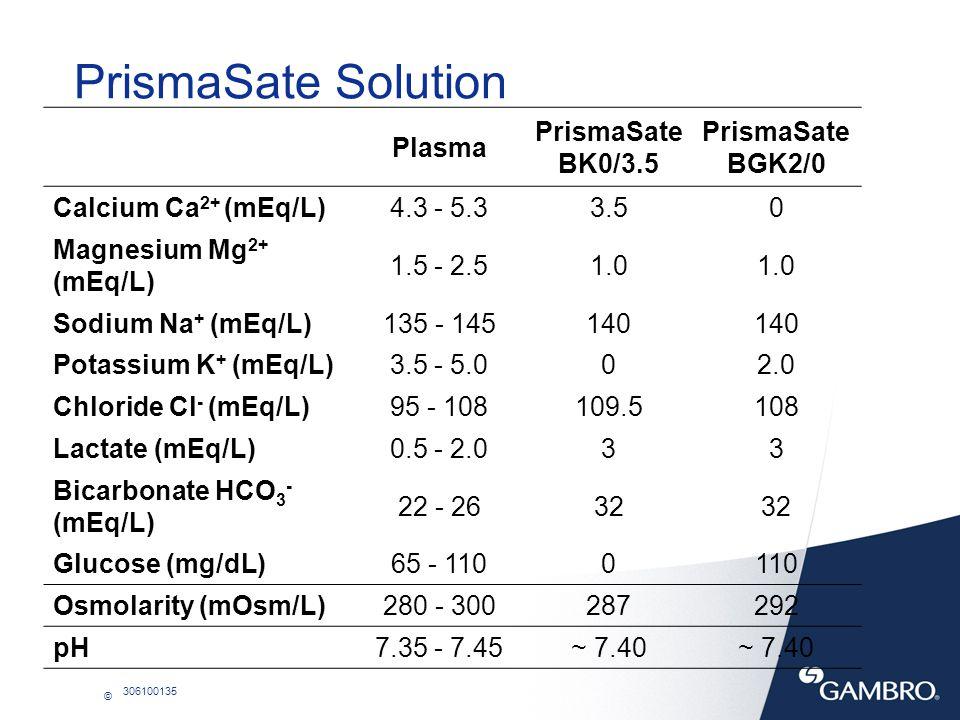 © 306100135 Plasma PrismaSate BK0/3.5 PrismaSate BGK2/0 Calcium Ca 2+ (mEq/L)4.3 - 5.33.50 Magnesium Mg 2+ (mEq/L) 1.5 - 2.51.0 Sodium Na + (mEq/L)135