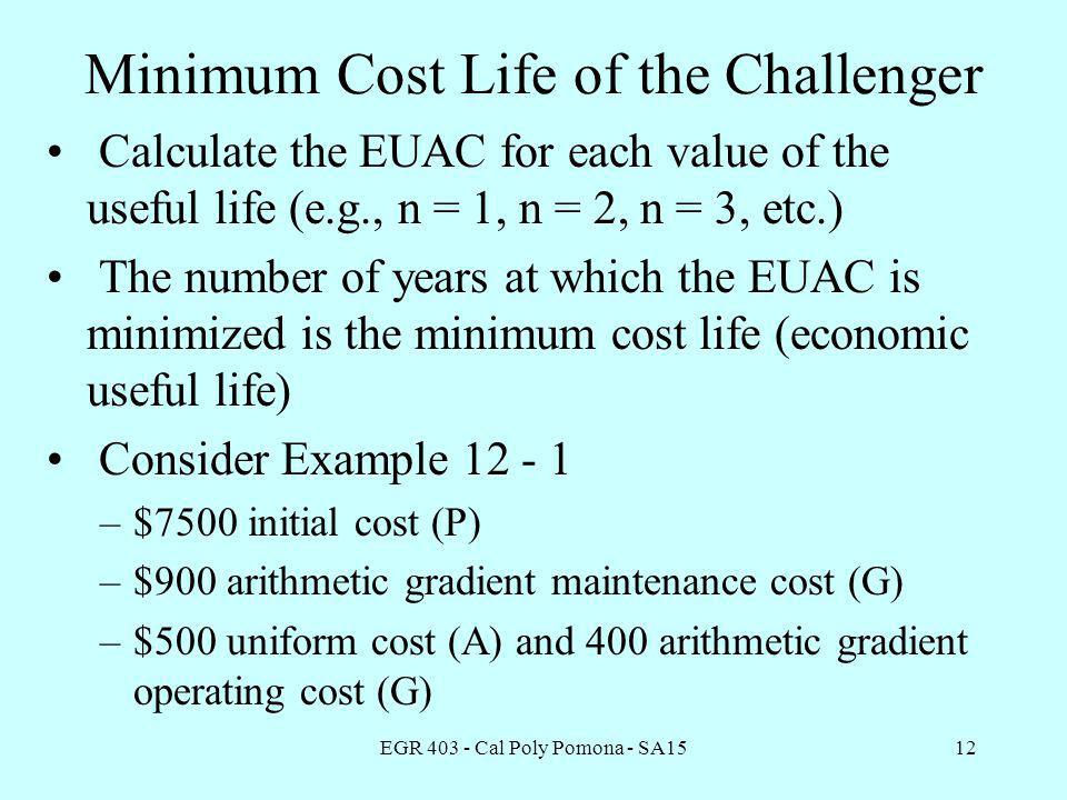 EGR 403 - Cal Poly Pomona - SA1512 Minimum Cost Life of the Challenger Calculate the EUAC for each value of the useful life (e.g., n = 1, n = 2, n = 3, etc.) The number of years at which the EUAC is minimized is the minimum cost life (economic useful life) Consider Example 12 - 1 –$7500 initial cost (P) –$900 arithmetic gradient maintenance cost (G) –$500 uniform cost (A) and 400 arithmetic gradient operating cost (G)