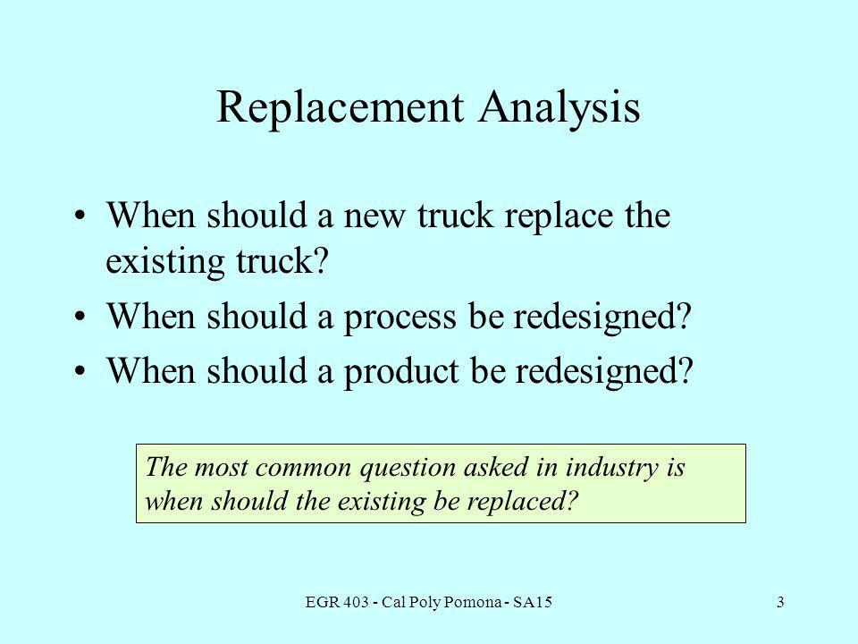 EGR 403 - Cal Poly Pomona - SA154 Replacement Analysis Terms Defender - the existing equipment or building previously implemented.