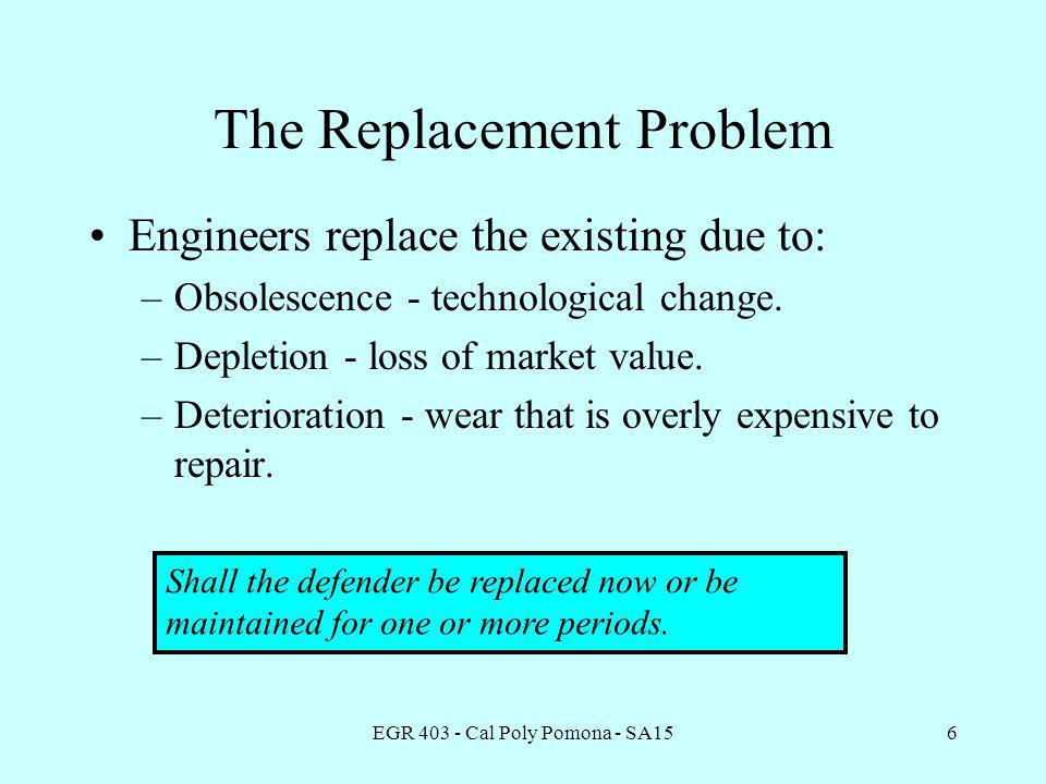 EGR 403 - Cal Poly Pomona - SA156 The Replacement Problem Engineers replace the existing due to: –Obsolescence - technological change.