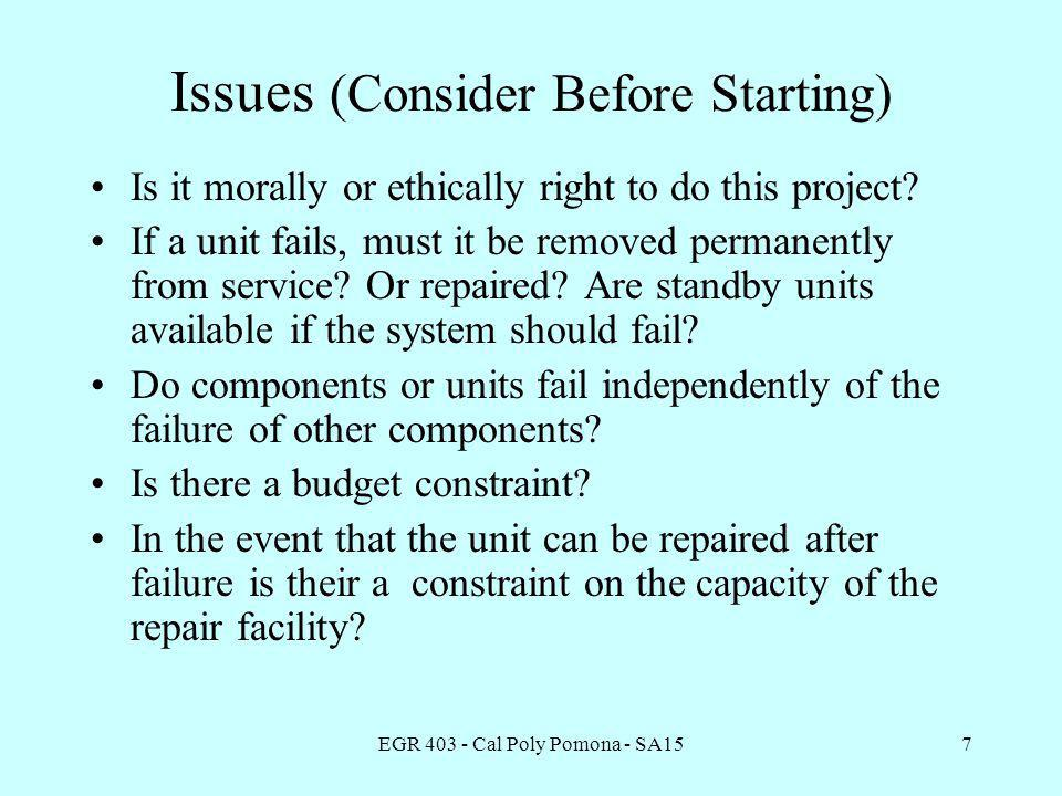 EGR 403 - Cal Poly Pomona - SA157 Issues (Consider Before Starting) Is it morally or ethically right to do this project.