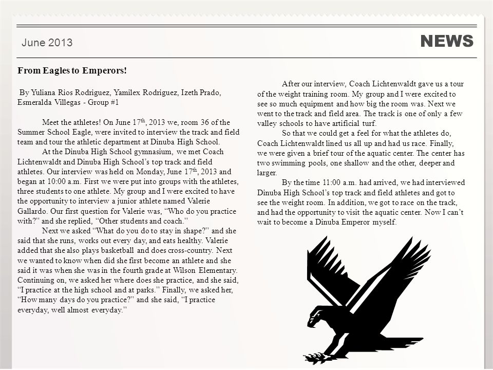 NEWS June 2013 From Eagles to Emperors.