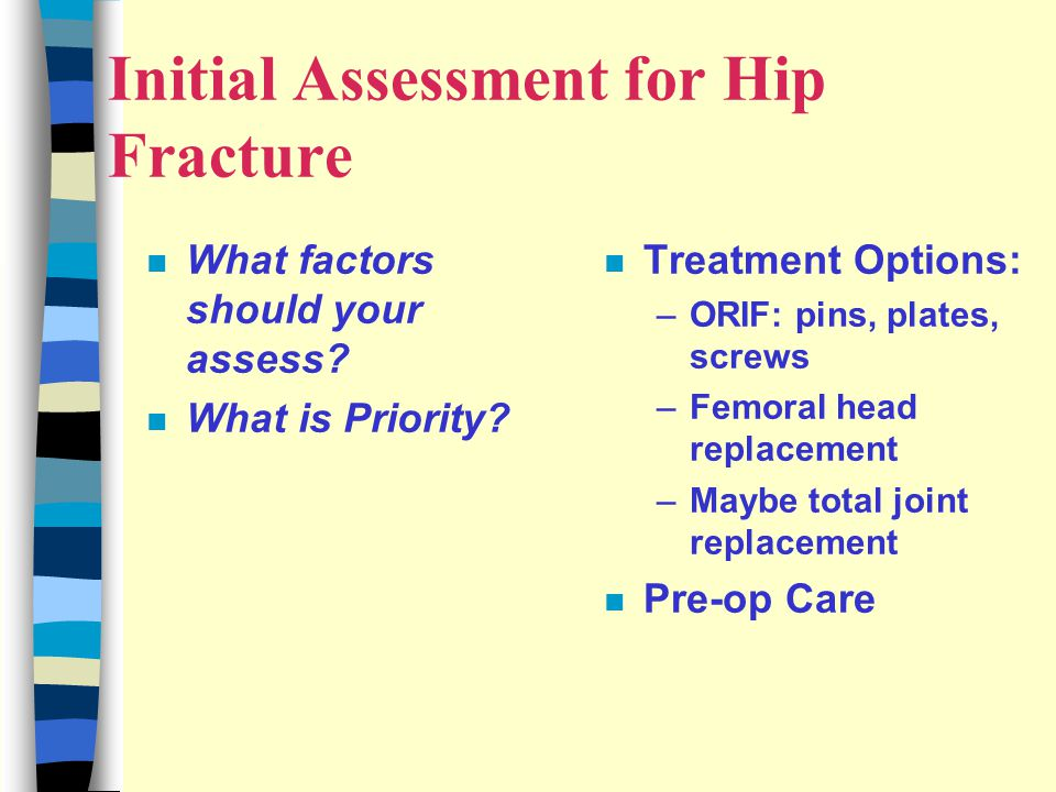 Initial Assessment for Hip Fracture n What factors should your assess.