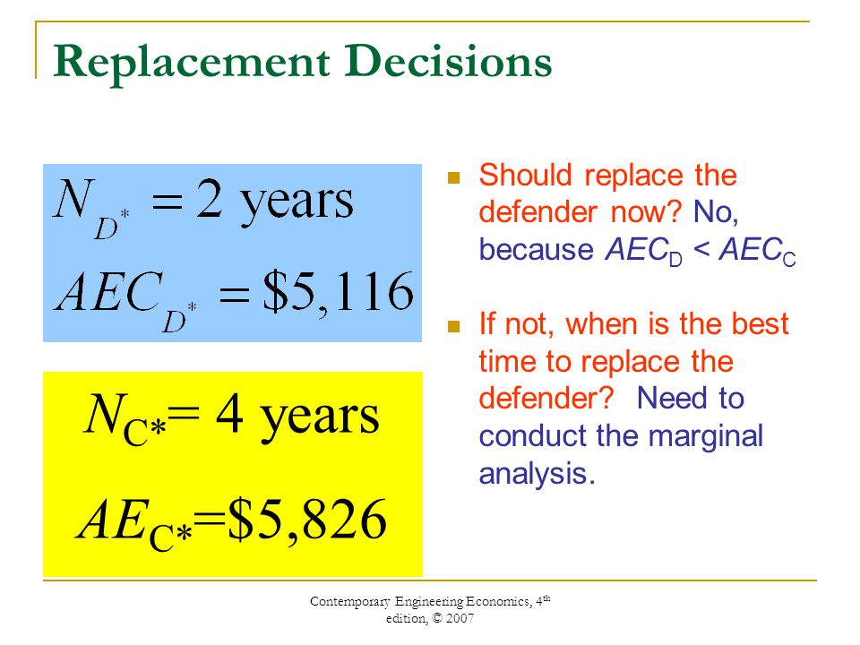 Contemporary Engineering Economics, 4 th edition, © 2007 Replacement Decisions Should replace the defender now.