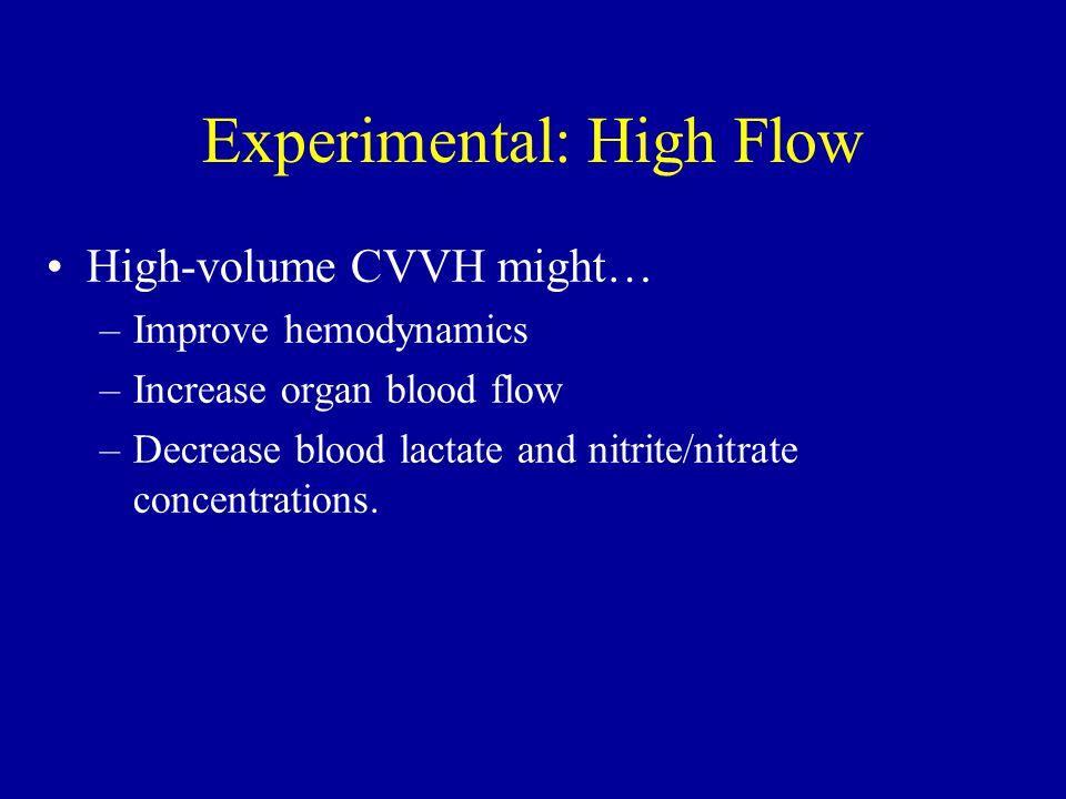 Experimental: High Flow High-volume CVVH might… –Improve hemodynamics –Increase organ blood flow –Decrease blood lactate and nitrite/nitrate concentra
