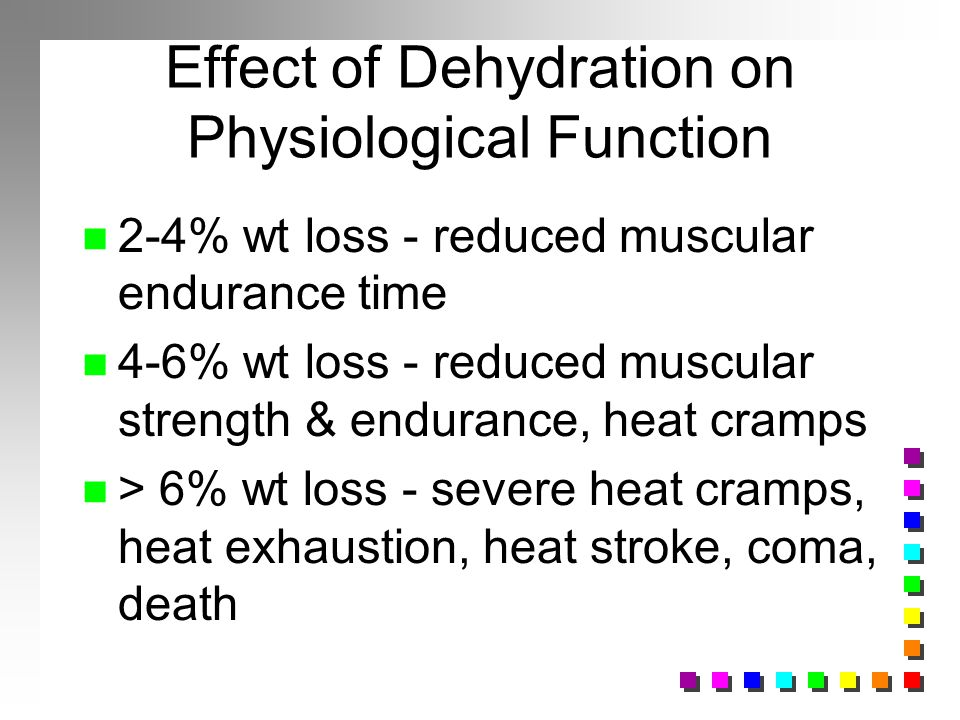 Effect of Dehydration on Physiological Function n 2-4% wt loss - reduced muscular endurance time n 4-6% wt loss - reduced muscular strength & enduranc