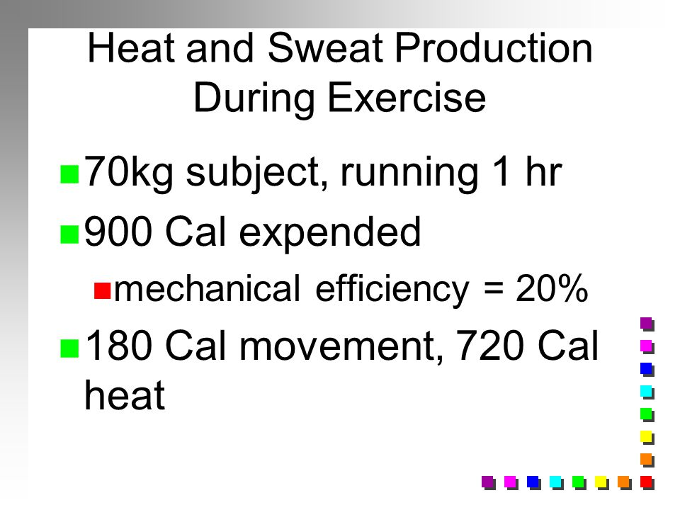 Heat and Sweat Production During Exercise n 70kg subject, running 1 hr n 900 Cal expended n mechanical efficiency = 20% n 180 Cal movement, 720 Cal he