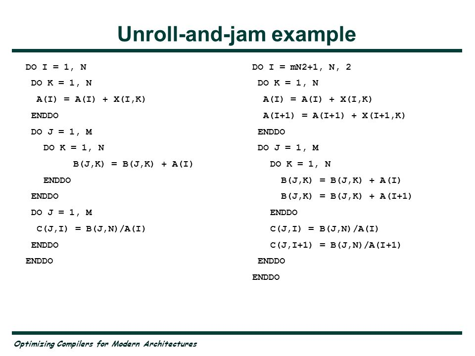 Optimizing Compilers for Modern Architectures Unroll-and-jam: Experiments