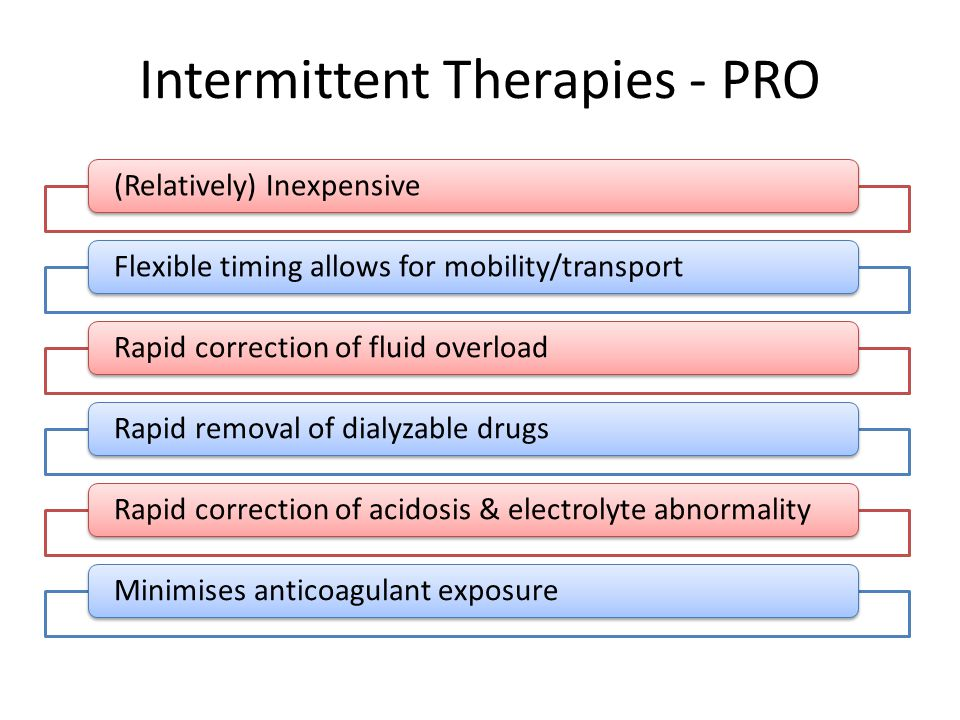 Intermittent Therapies - PRO (Relatively) InexpensiveFlexible timing allows for mobility/transportRapid correction of fluid overloadRapid removal of dialyzable drugsRapid correction of acidosis & electrolyte abnormalityMinimises anticoagulant exposure