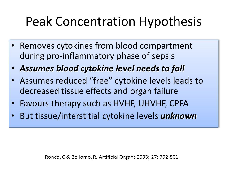 Peak Concentration Hypothesis Removes cytokines from blood compartment during pro-inflammatory phase of sepsis Assumes blood cytokine level needs to fall Assumes blood cytokine level needs to fall Assumes reduced free cytokine levels leads to decreased tissue effects and organ failure Favours therapy such as HVHF, UHVHF, CPFA unknown But tissue/interstitial cytokine levels unknown Removes cytokines from blood compartment during pro-inflammatory phase of sepsis Assumes blood cytokine level needs to fall Assumes blood cytokine level needs to fall Assumes reduced free cytokine levels leads to decreased tissue effects and organ failure Favours therapy such as HVHF, UHVHF, CPFA unknown But tissue/interstitial cytokine levels unknown Ronco, C & Bellomo, R.