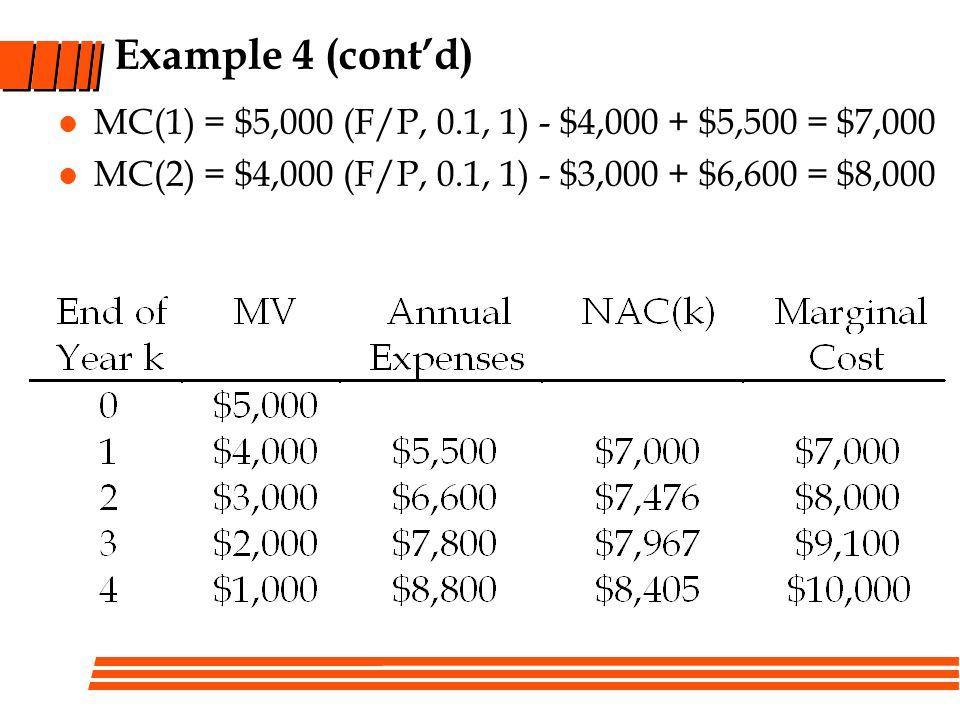 Example 4 (contd) MC(1) = $5,000 (F/P, 0.1, 1) - $4,000 + $5,500 = $7,000 MC(2) = $4,000 (F/P, 0.1, 1) - $3,000 + $6,600 = $8,000