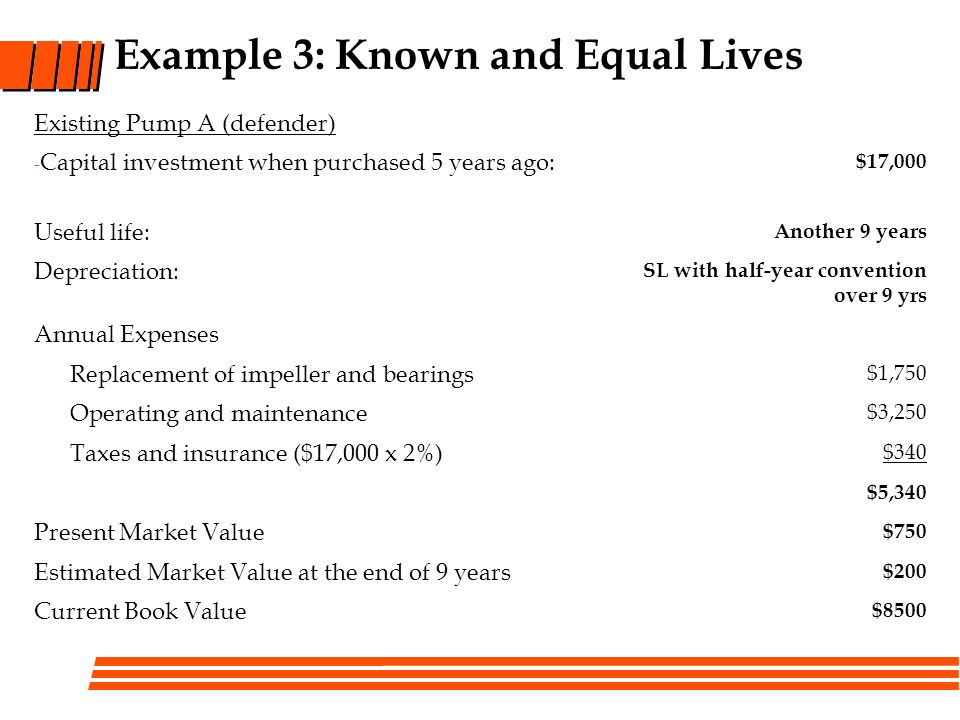 Example 3: Known and Equal Lives Existing Pump A (defender) - Capital investment when purchased 5 years ago: $17,000 Useful life: Another 9 years Depr