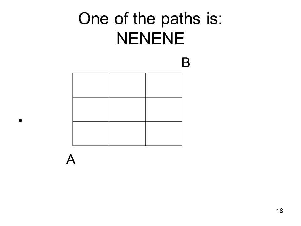 18 One of the paths is: NENENE B A