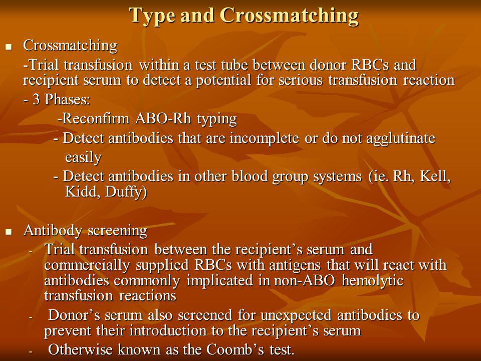 Type and Crossmatching Type and Crossmatching Crossmatching Crossmatching -Trial transfusion within a test tube between donor RBCs and recipient serum