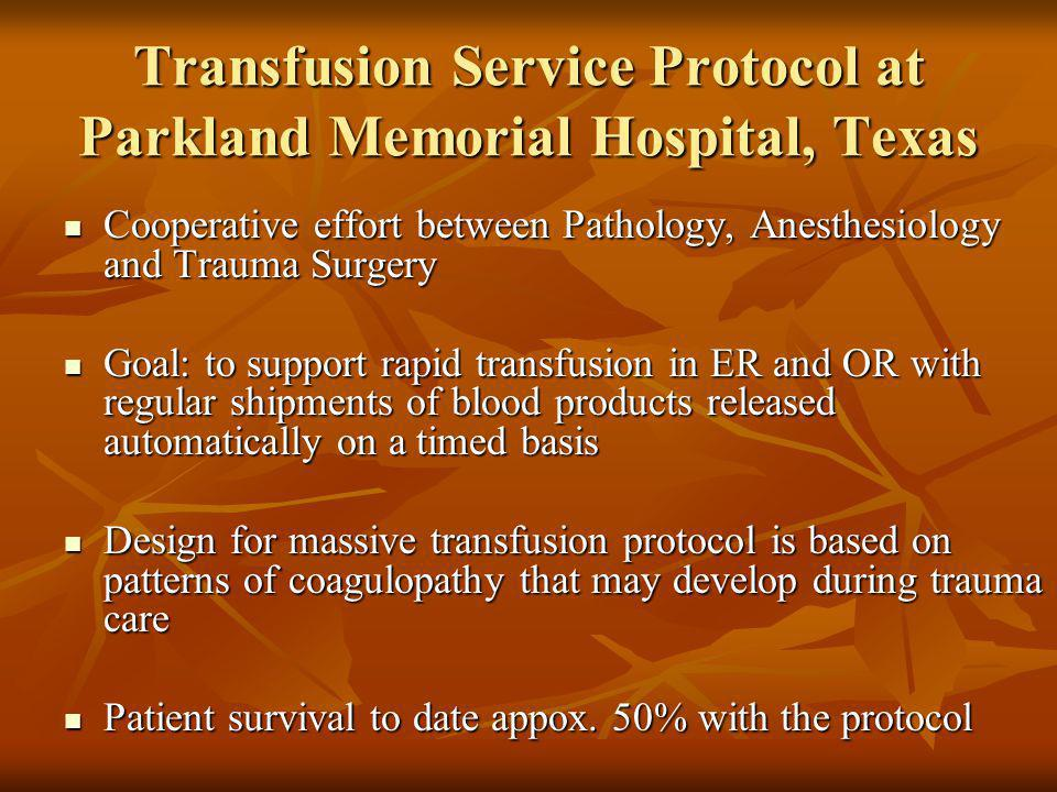 Transfusion Service Protocol at Parkland Memorial Hospital, Texas Cooperative effort between Pathology, Anesthesiology and Trauma Surgery Cooperative