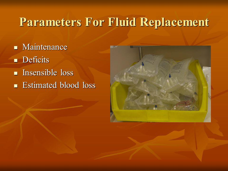 Parameters For Fluid Replacement Maintenance Maintenance Deficits Deficits Insensible loss Insensible loss Estimated blood loss Estimated blood loss