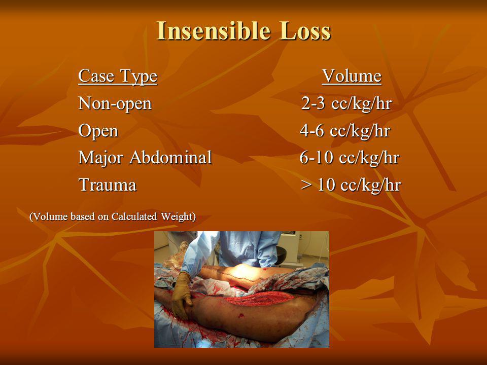 Insensible Loss Case Type Volume Non-open 2-3 cc/kg/hr Open 4-6 cc/kg/hr Major Abdominal 6-10 cc/kg/hr Trauma > 10 cc/kg/hr (Volume based on Calculate