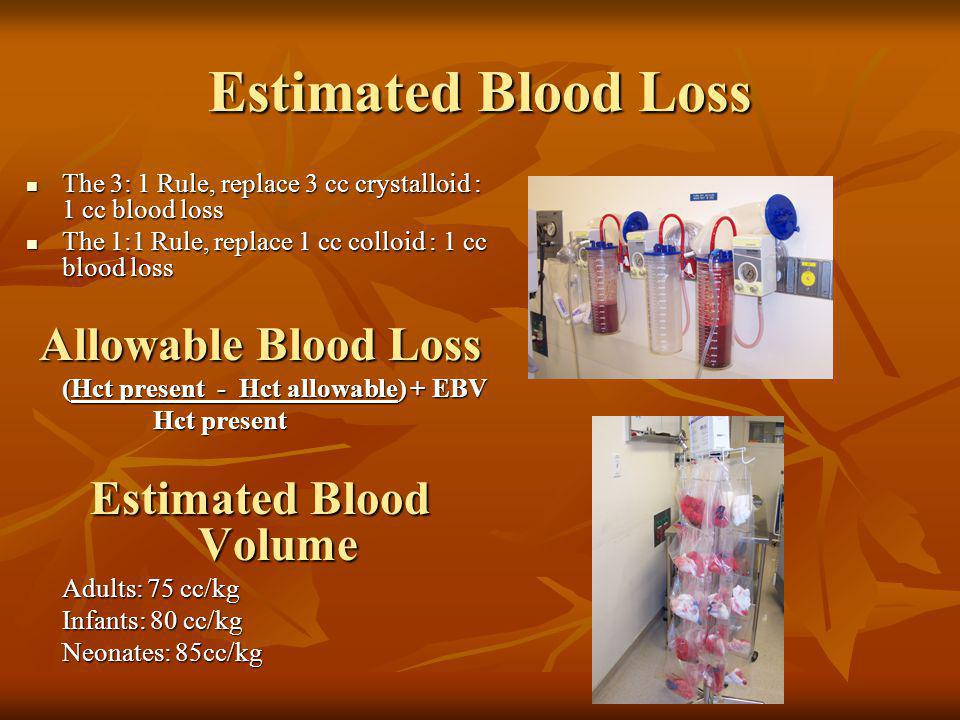 Estimated Blood Loss The 3: 1 Rule, replace 3 cc crystalloid : 1 cc blood loss The 3: 1 Rule, replace 3 cc crystalloid : 1 cc blood loss The 1:1 Rule,
