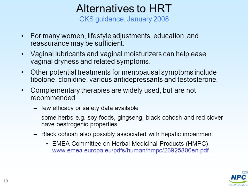 10 Alternatives to HRT CKS guidance.
