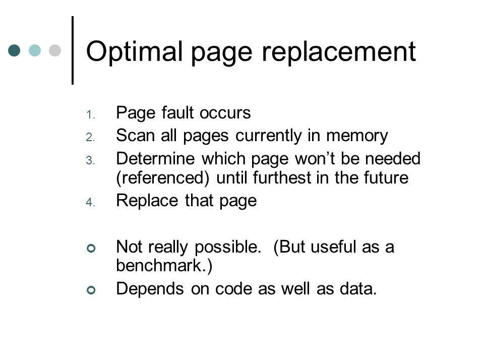Algorithms we will discuss: 1.Optimal 2. NRU 3. FIFO 4.