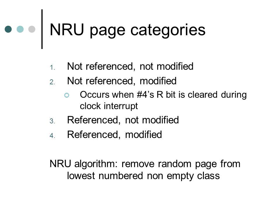 NRU algorithm evaluation Simple Efficient Not optimal but adequate